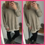 joggingstof jurk trui oversized pastel beige sweater dress
