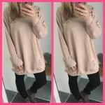 joggingstof jurk trui oversized pastel roze sweater dress