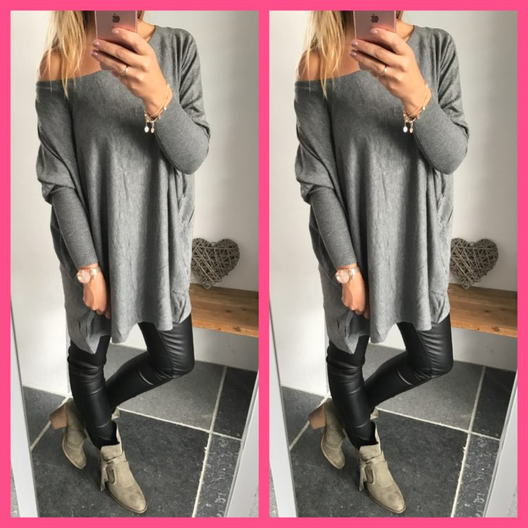 oversized trui tuniek off shoulder grijs