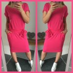 strik jurk jogging neon roze fuchia korte mouw
