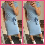 strik jogging jurk licht blauw korte mouw