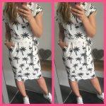 palmboom flamingo jurk strik korte mouw wit