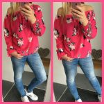 bloemen flower print blouse top roze