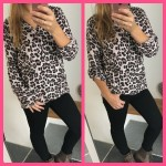 panter tijgerprint blouse beige